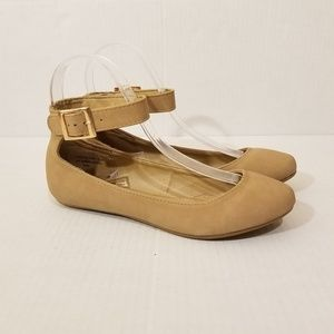 🆕️Bamboo Tan Ankle Flats with Buckle and Elastic